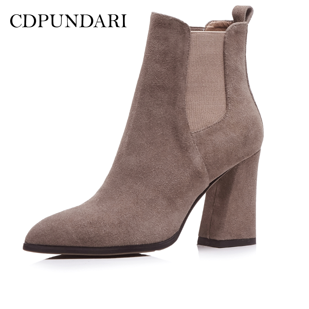 CDPUNDARI Genuine Leather Ankle boots for women High heel boots Sexy Pointed Toe Winter shoes woman botas mujer botte femme цена