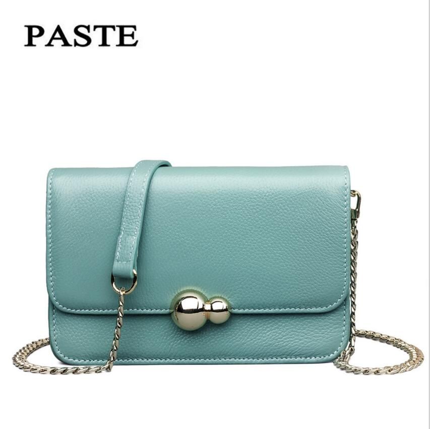 PASTE Brand Ladies Bag2017 New First Layer Leather Leather Handbags Mini Bag Messenger Bag Shoulder Bag Fashion Chain Package paste new leather handbags first layer of leather shoulder bag messenger bag handbag white casual bag female shoulder bag