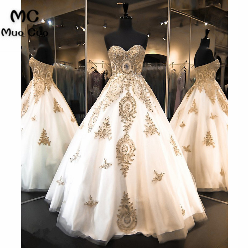 2018 Ball Gown   Prom     dresses   Long with Gold Applique Sweetheart Floor Length Tulle   dress   for graduation Formal Evening   Prom     Dress