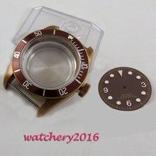 цена 41mm Sapphire Crystal Luminous Date window Watch Case Dial fit 8205 8215 821A 2836 MIYOTA 82 Movement онлайн в 2017 году