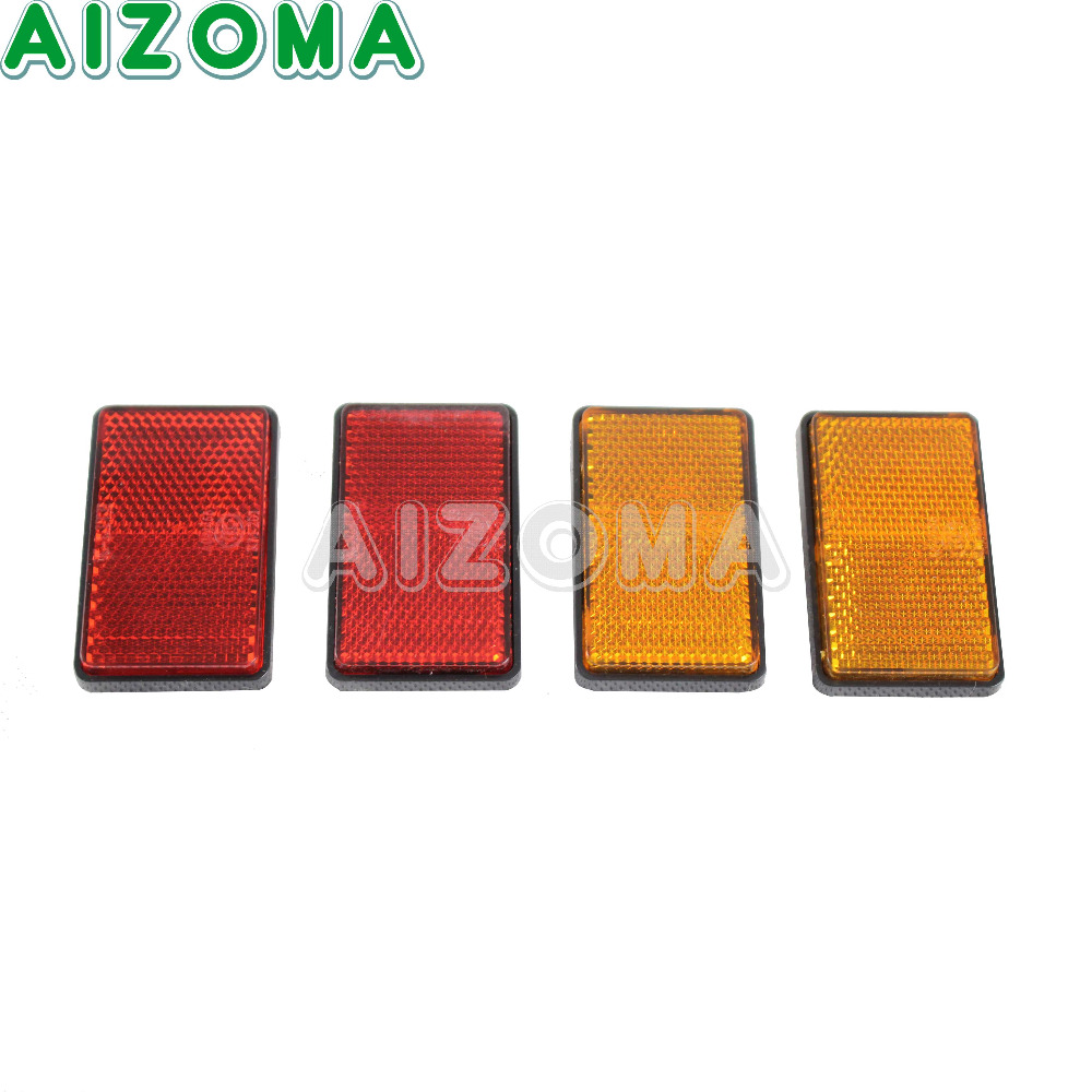 Motorcycle Adhesive Rectangle Plastic 64.5*39mm Reflector 1Pair Universal For ATV Bikes Dirt Bikes Side Rear Front Red Yellow bande réfléchissante scooter orange pour fourche