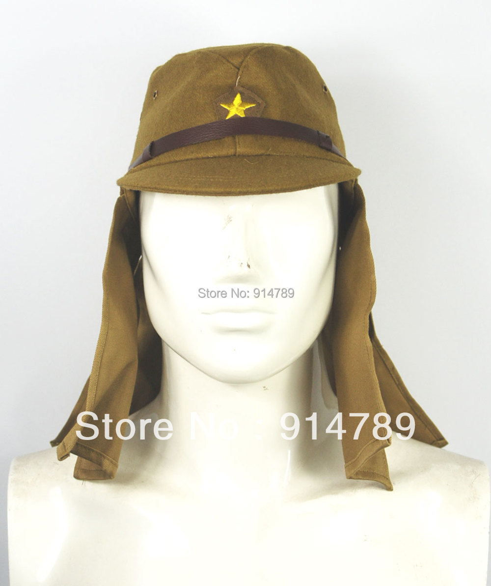 WWII WW2 JAPANESE ARMY IJA SOLDIER FIELD WOOL CAP HAT   WITH HAVELOCK NECK FLAP L -32806