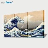 شحن مجاني اليابان اللوحة 3 لوحات الصورة قماش اللوحة جدار الفن اللوحة كاتسوشيكا هوكوساي الموجة الكبرى كاناغاوا