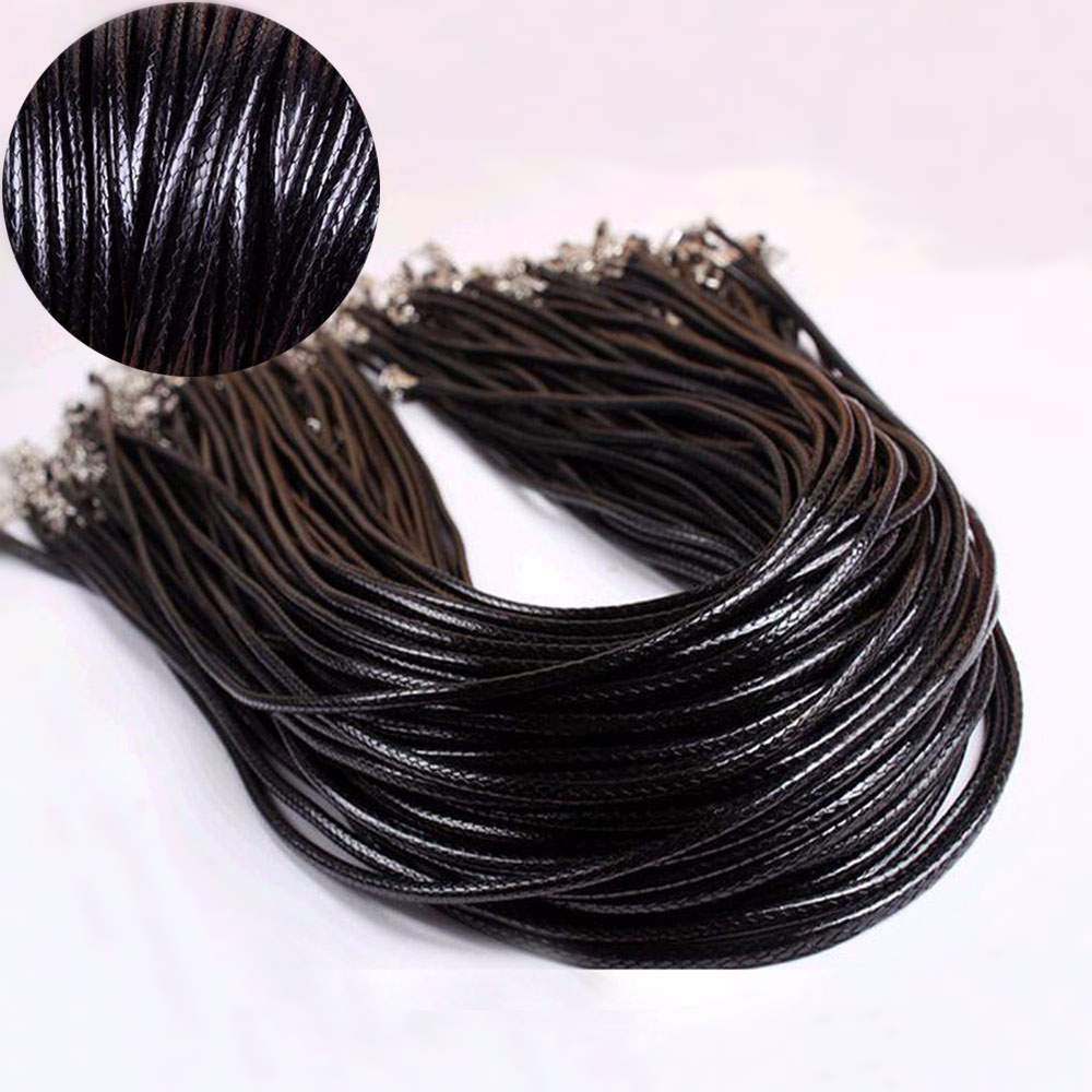 3 Pcs 2mm Twisted Braided Rope Leather Chain Necklace Bracelet Charms Silver Clasp DIY Jewelry Accessories String Cord Necklace