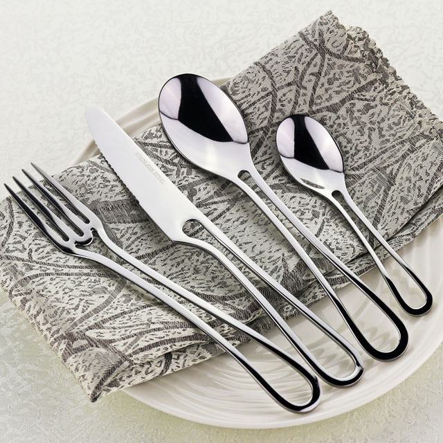 4pcs/set Stainless Steel Silver Dinner Knives Fork Spoon Teaspoons Set Cutlery Catering Dinnerware colher  sc 1 st  AliExpress.com & 4pcs/set Stainless Steel Silver Dinner Knives Fork Spoon Teaspoons ...
