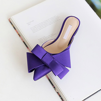 2018 spring and summer women's shoes Korean silk satin Pointed bow tie slippers Baotou flat heel sets semi slippers - Violet(high 1.5cm), 36