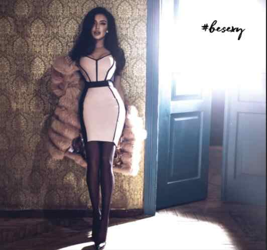 Gratis Verzending Zomer Mode Sexy Patchwork Bandage Jurk 2019 Designer Designer Bodycon Party Dress