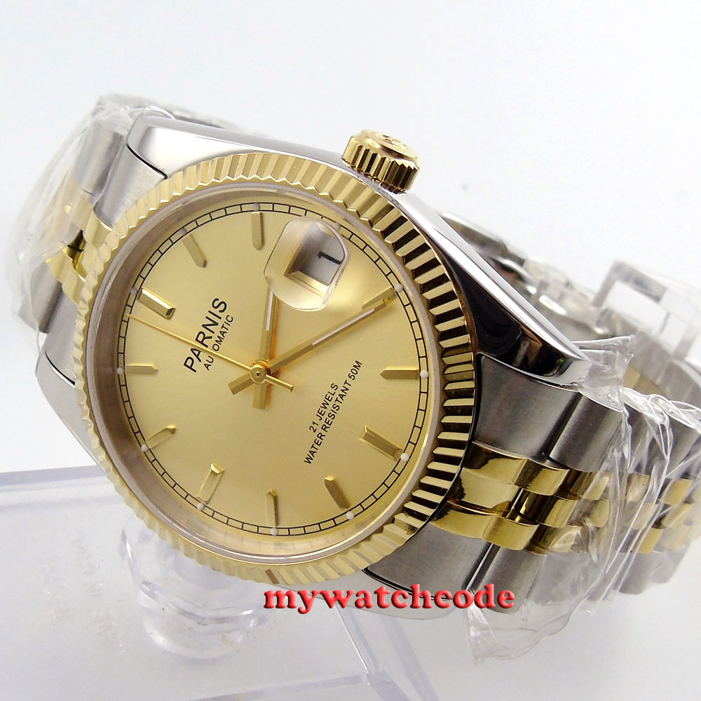лучшая цена 36mm Parnis gold dial Sapphire glass 21 jewels Miyota automatic mens watch P409