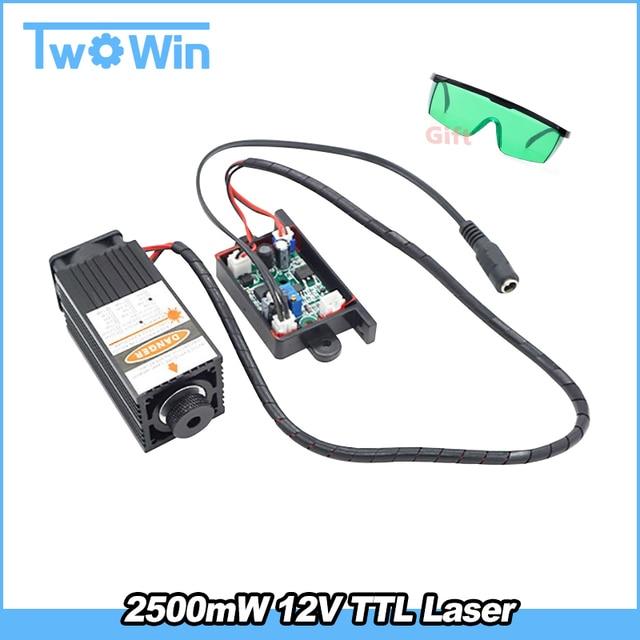 450nm 2500mW 12V High Power TTL Adjustable Focus Blue Laser Module DIY Laser engraver accessories 2.5W laser+Protect  glass