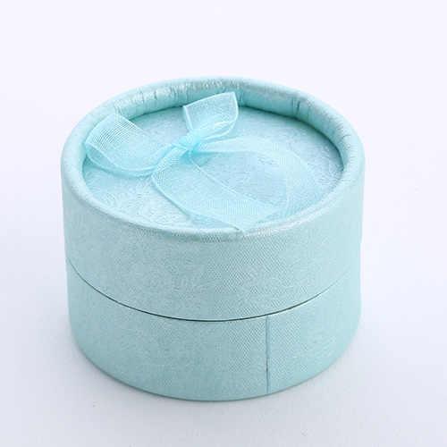 Nueva caja redonda de joyería con lazo para pendientes, caja organizadora de joyería, caja de regalo, caja de joyería, embalaje de boda