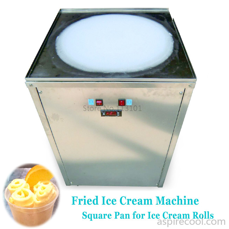 Ice Cream Rolls Making Machine Fried Ice Cream Maker Machine with Square Pan Stainless Steel Freezer Fruit Ice Rolls free air ship ce stainless steel fried ice cream machine single pan freezer ice pan machine with defrost for ice cream rolls