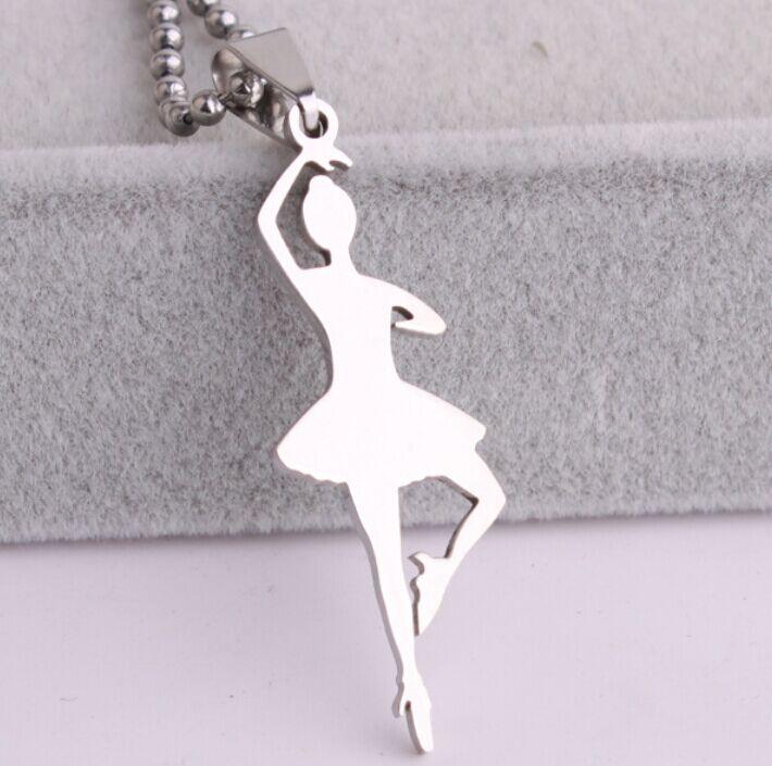 Purple Dance Ballet Ballerina Girl Crystas Silver Tone Necklace Pendant Designer