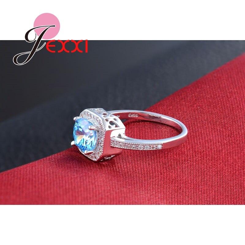 Patico Мода кубический циркон Кристалл Rhinestone 925 стерлингов Серебряные кольца для Для женщин Мода полос Стиль Юбилей Promise Ring