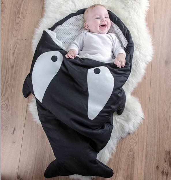 New Promotion Baby Sleeping Bag Winter Baby Sack Cartoon Shark Infant BlanketFor-Beds Envel ope Newborns Baby Shark Sleeping Bag