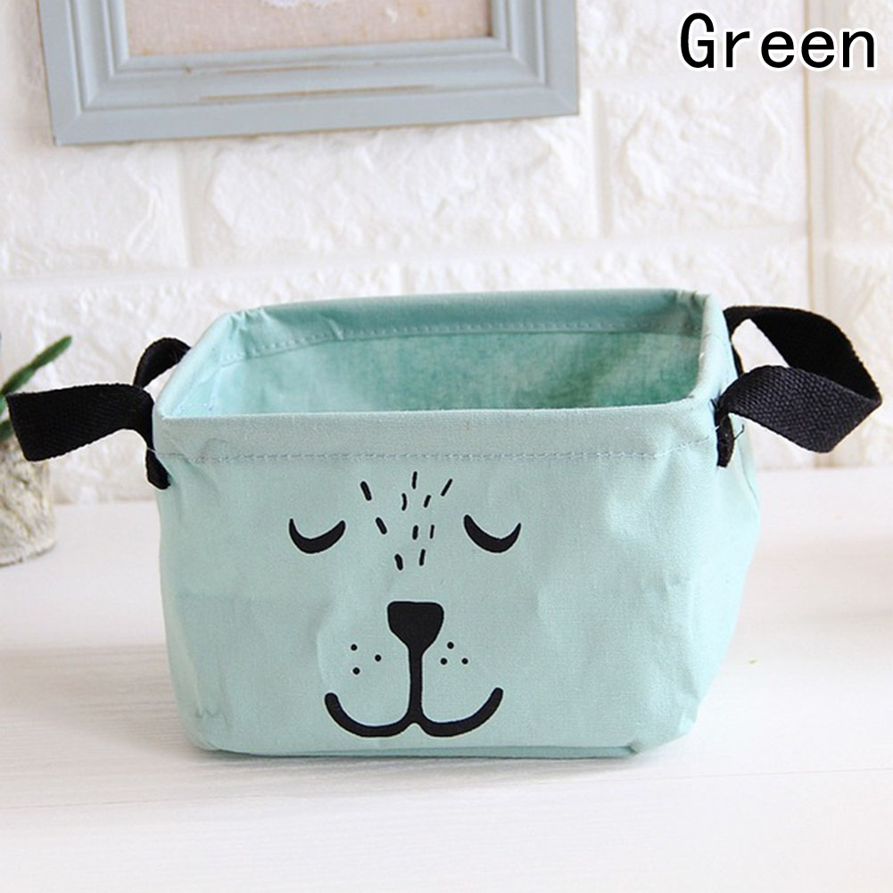 1 pc Lovely Cotton Linen Desktop Makeup Jewelry Cosmetic Storage Box organizer Square Toy Finishing Waterproof bags