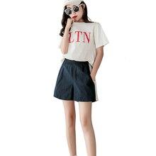 Women shorts Loose summer 2019 spodenki damskie Cotton Casual Elasticated high waist wide leg New arrive fashion