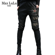 LUCKY STAR Black Casual Pencil pants Girl Washed rhinestones drilling printing Skinny