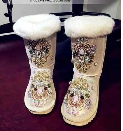 Original homemade super flash heavy duty rhinestone bead waterproof leather thickening one rabbit fur snow boots    Original homemade super flash heavy duty rhinestone bead waterproof leather thickening one rabbit fur snow boots