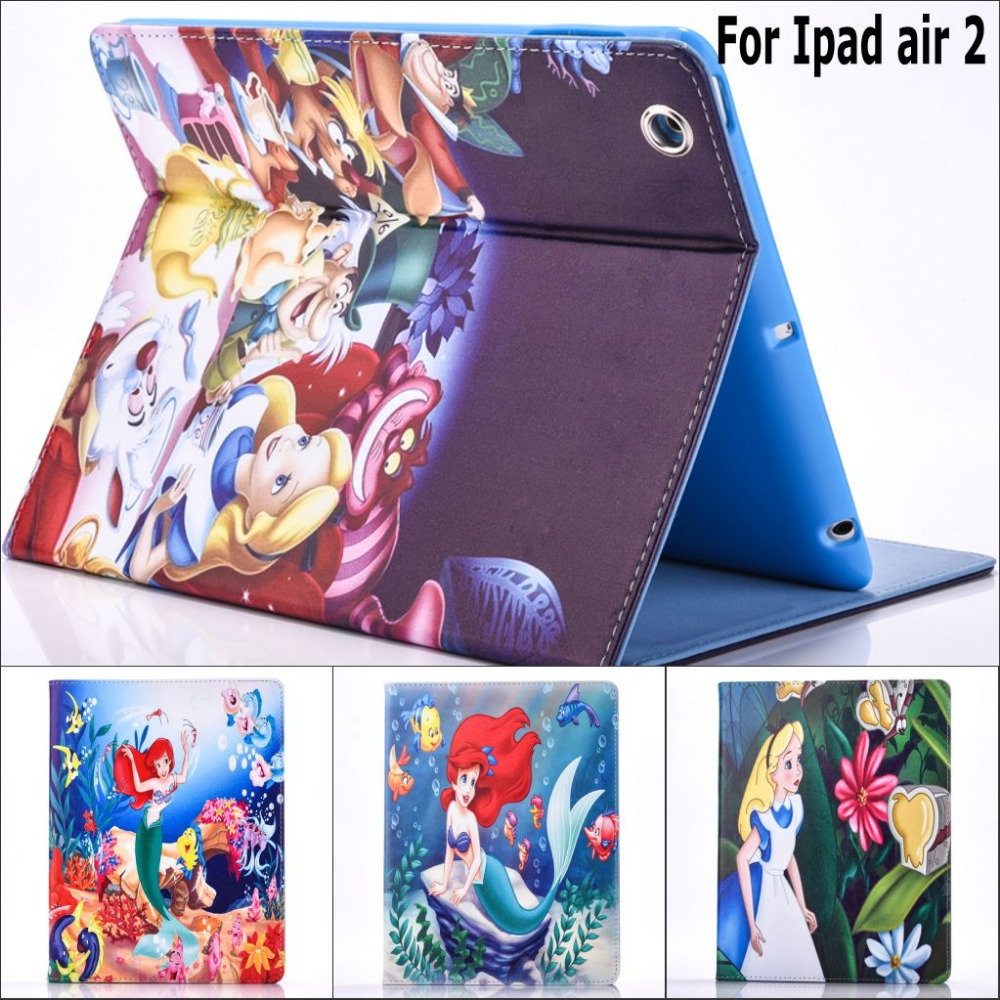 Fashion New Cartoon movie Mermaid and Alice pu leather Stand holder case cover for ipad air 2 with screen protector