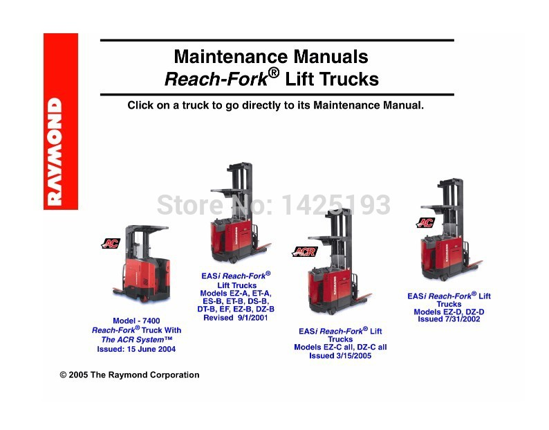 raymond reach fork lift trucks maintenance manual in software fromraymond reach fork lift trucks maintenance manual