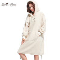 BelineRosa Women S Casual Hoodies Dresses Pure Color Fleece Material Hooded Collar Winter Clothes Plus Size