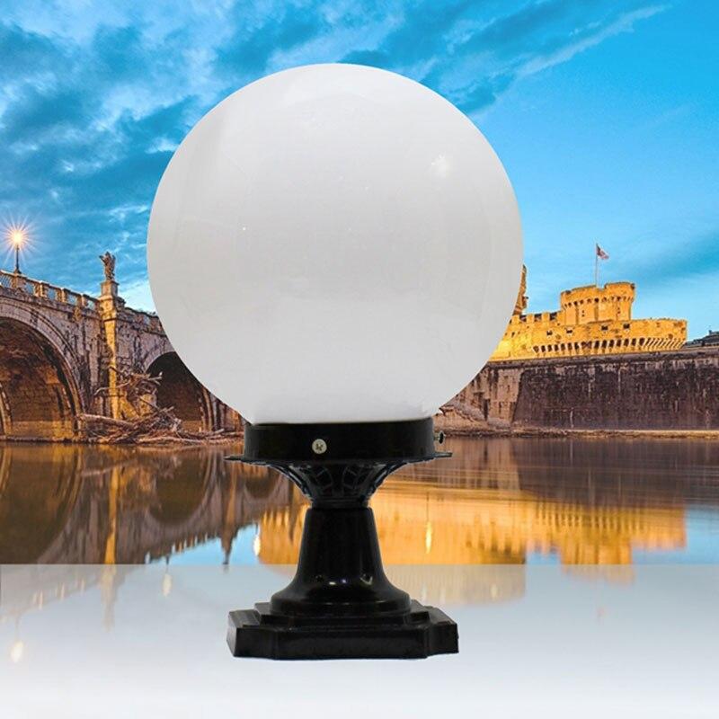 Ball Shape Outdoor Pillar Lamp Waterproof Verlichting Porch Garden Bra Gateway E27 Chapiter Light Decoration Column Lighting