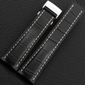 Alta qualidade Preto/Brown/Azul linhas de Crocodilo Genuína pulseira de Couro 22mm/24mm para B-R-E 718 P 732 P 760 P 739 P 443A