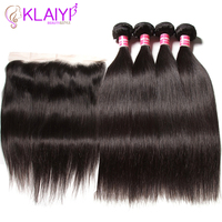 Klaiyi индийские волосы прямые человеческих волос Связки с фронтальной бесплатная часть 4 пучки волос ткет с кружевом фронтальной Волосы remy