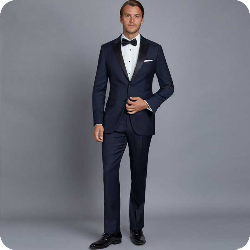 Newest Navy Blue Men Suits Groom Wear Wedding Tuxedos Blazers Costume Homme 2Piece Coat Pants Slim Fit Terno Masculino