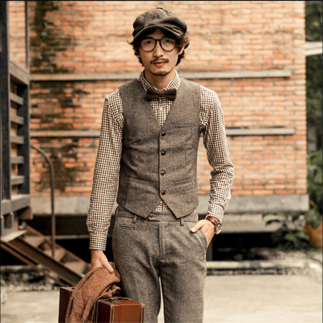 Vintage England Style Men Vest Suit Single Breasted Solid ...