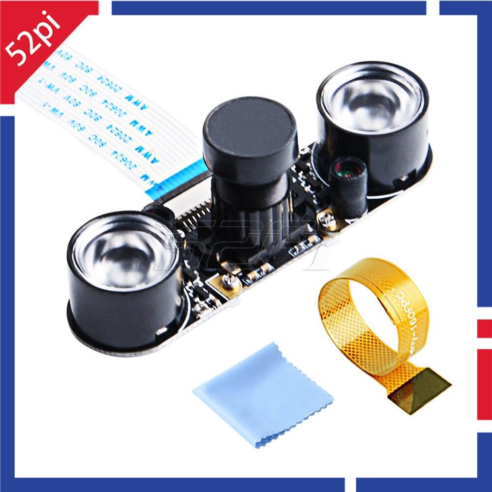 52Pi Night Vision Camera IR Sensor LED Light 1080P With 3.6mm Adjustable-focus Module For Raspberry Pi 4B / 3B+ / Zero / 3B / 2B