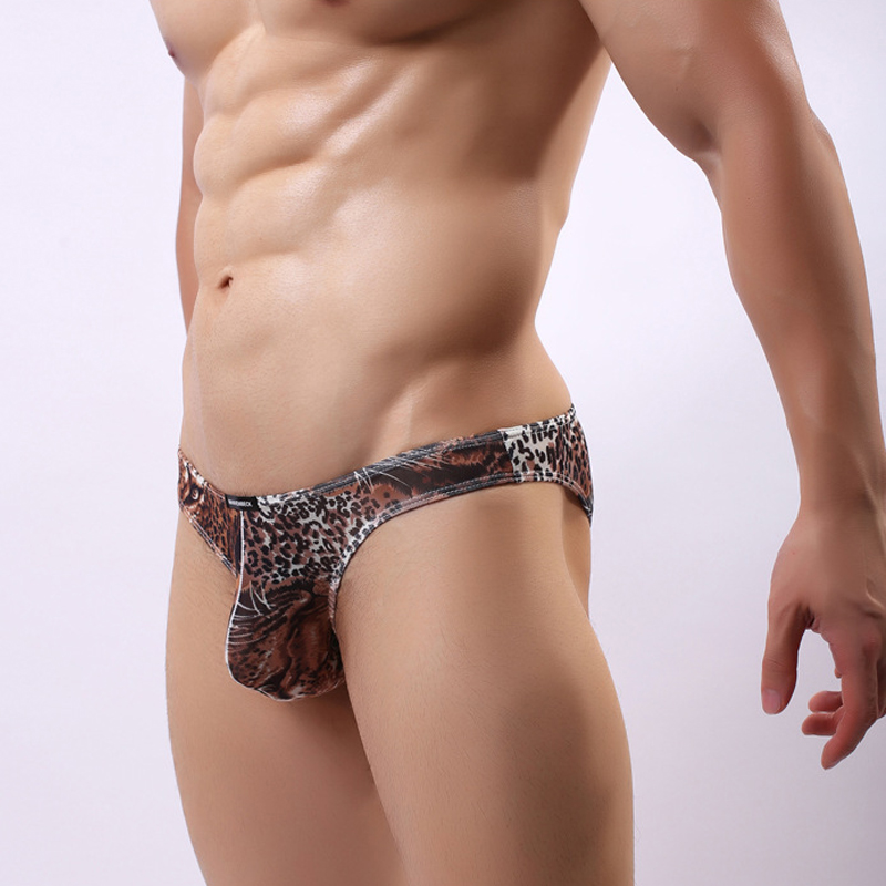 Men Underwear <font><b>Sexy</b></font> Breathable Briefs Mens Cueca <font><b>homme</b></font> Male Bulge Penis Pouch Panties Leopard Pattern Underpants <font><b>Bikini</b></font> Low-rise image