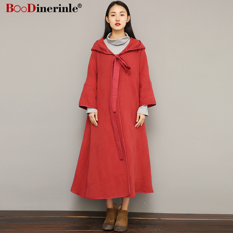 Women's Autumn   Trench   Coats New Female Double-layer Cotton Jacquard Hooded Lace-up Cloak Chinese Style Retro Windrbreaker JK048