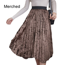 Merched autumn winter velvet skirts women high waist pleated asymmetrical skirts female plu size 3xl a-line skirts mujer