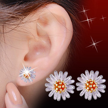 цена 100% 925 sterling silver fashion sunflower ladies`stud earrings jewelry female Christmas gift Anti allergy no fade drop shipping в интернет-магазинах