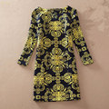 Женщины Зима Dress 2017 Длинные Рукава Sexy Vintage Цветочный Принт женская Dress Осень Женщина Вскользь Офис Платья Плюс Размер Dress