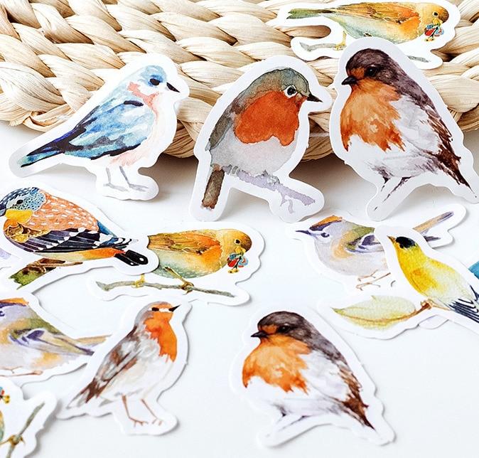 1PACK=45PCS Mocking Bird Colorful Mini Paper Stickers 4.4*4.4cm DIY Sealing Sticker Gift