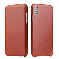 newisdom For iphone X case Genuine leather iphone XS Max flip protective case For iphone XR leather cover iPhone7 plus 8 men