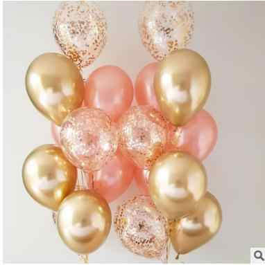 12pcs  12inch Gold Chrome Metallic Confetti Latex balloons Wedding Rose Gold Latex Birthday Party Decoration Kids Helium Ball