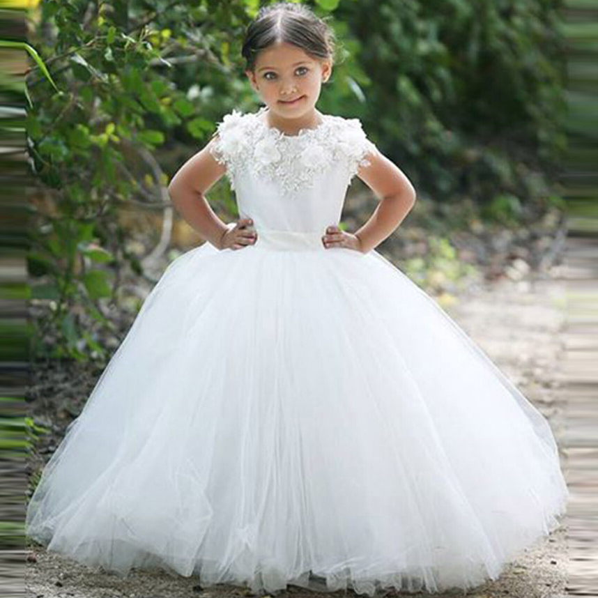 N615 Beautiful Ball Gown White   Flower     Girl     Dresses   2018 Cap Sleeve Scoop Tulle Applique Sashes New Arrival Party   Dresses   xq20