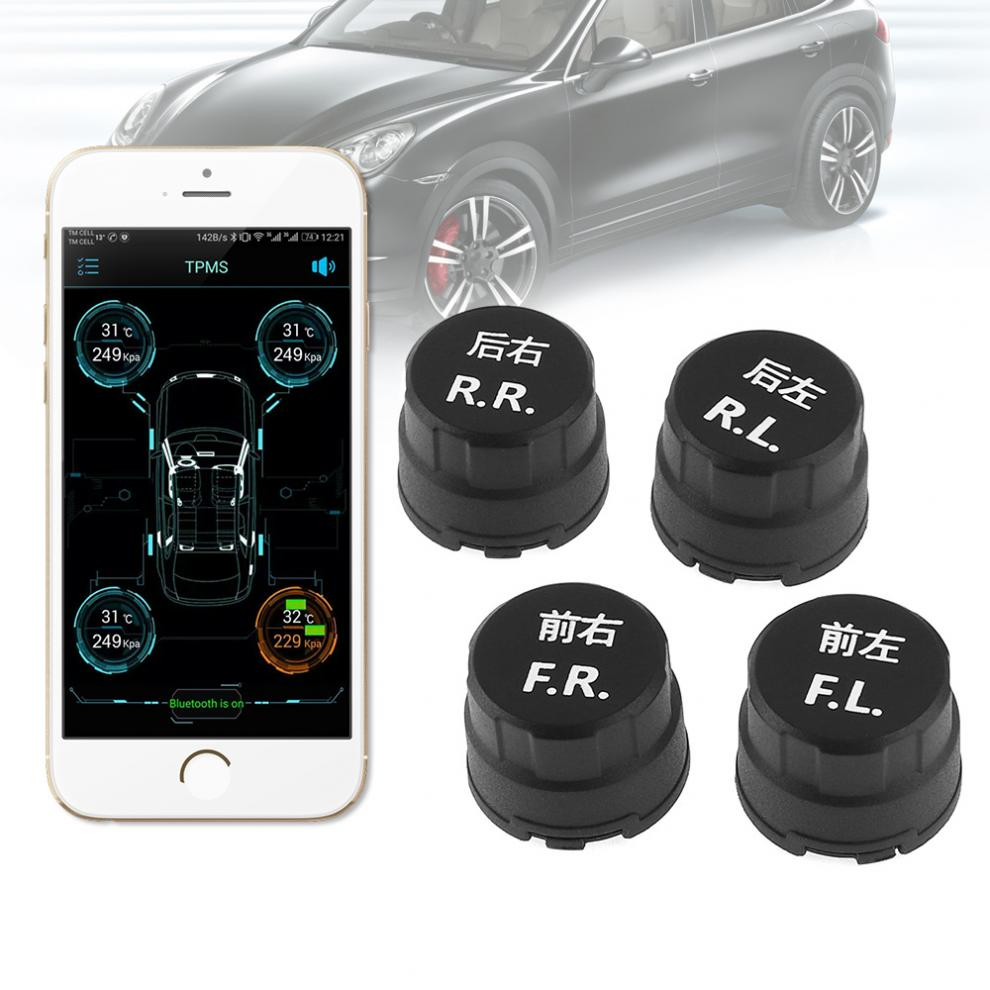4pcs Waterpfoof Car TPMS Bluetooth 4.0 Tyre Tire Pressure Monitoring System APP Display External Sensors Support Android IOS
