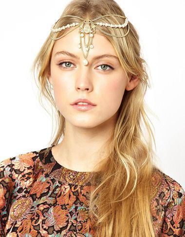 Hot Beach Multilayer Metal Gold Color Head Chain Hair Jewelry Tassel Pearl Leaves Bindi Hair Accesories Boho Headband For Women