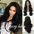 Long Body Wave Natural Black Synthetic Lace Front Wig With Baby Hair Thick Full Density Heat Resistant Synthetic Wigs In Stock