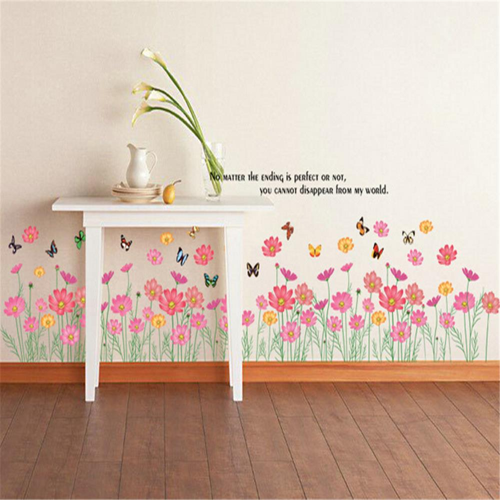 Small Floral Foot Line Vinyl Wall Stickers For Kids Rooms