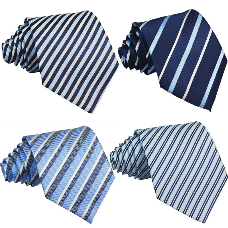 New Mens classic tie striped party Neckties Fashion Plaid Man Ties for wedding Male Spring blue navy necktie