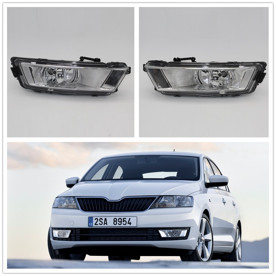 Car Light For Skoda Rapid Spaceback 2013 2014 2015 2016 2017 Car-styling Front Bumper Halogen Fog Light Fog Lamp ownsun innovative super cob fog light angel eye bumper cover for skoda fabia scout