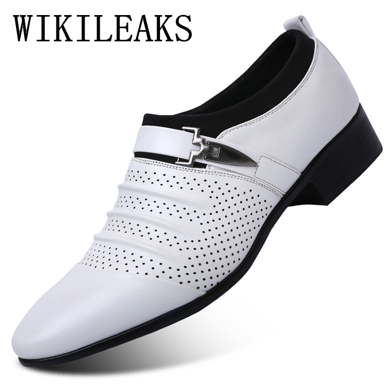 2019 Summer Black Brown White Men Leather Shoes Mens Pointed Toe Dress Shoes High Quality Formal Slip On Hollow Out Sandals Man