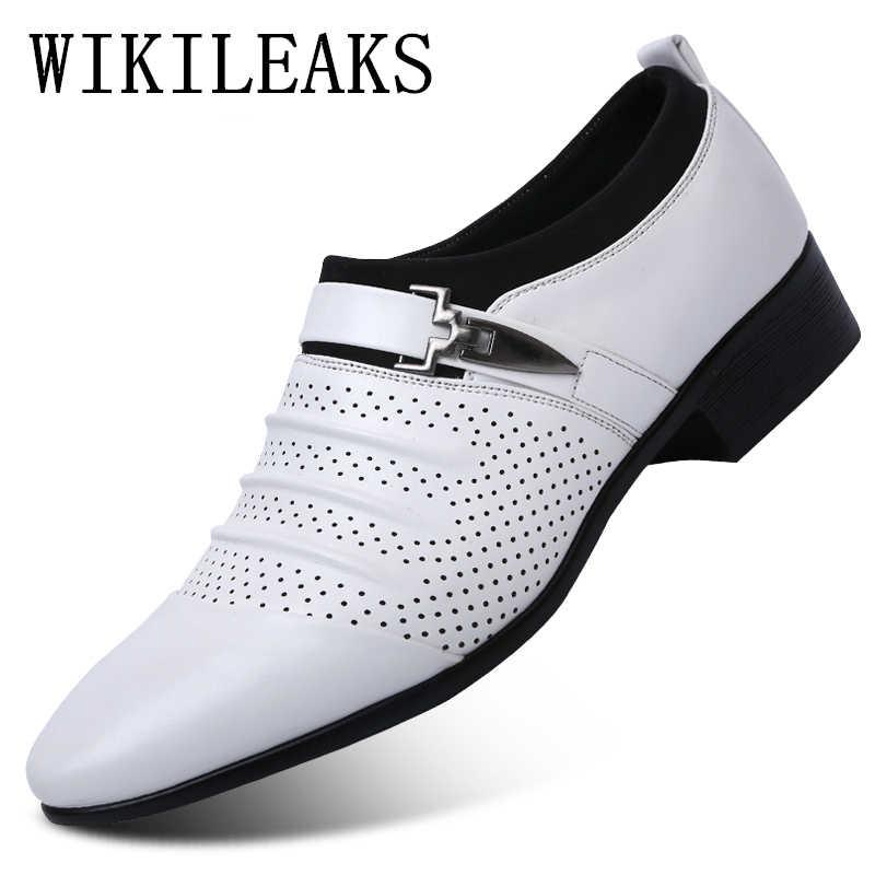 2019 verão preto marrom branco sapatos de couro dos homens apontou toe vestido sapatos de alta qualidade formal deslizamento em oco para fora sandálias homem