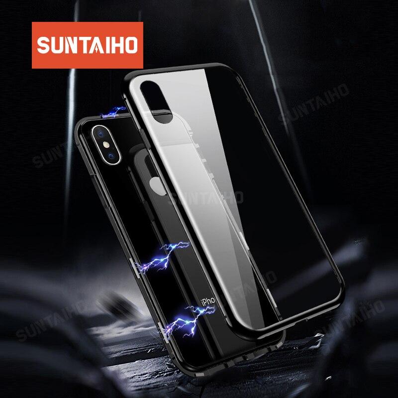 Suntaiho adsorbimento magnetico cassa Del Telefono per il iphone XS Max XR 7 X della cassa Magnetica In Vetro Temperato di Caso per il iphone XR MAX X 7 86 PIÙ