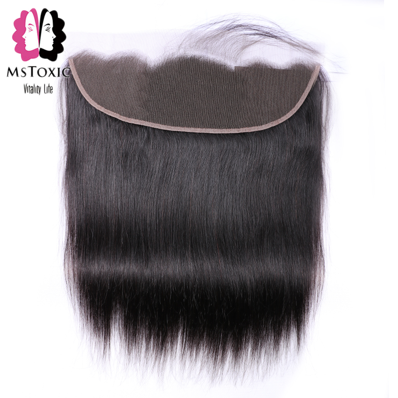 MsToxic Pre Plucked Peruvian Straight Hair Frontal With Baby Hair 13x4 Lace Frontal Closure Human Hair